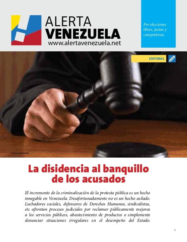 Alerta Venezuela #20: Disidencia al banquillo (informe, ago 2013)