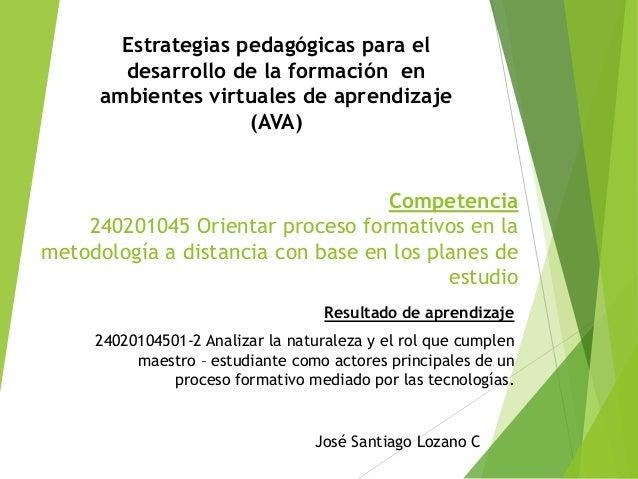Estrategias pedagógicas para el desarrollo de la formación en ambientes virtuales de aprendizaje (AVA)  Competencia 240201...