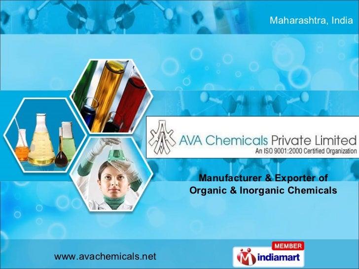 Manufacturer & Exporter of Organic & Inorganic Chemicals Maharashtra, India