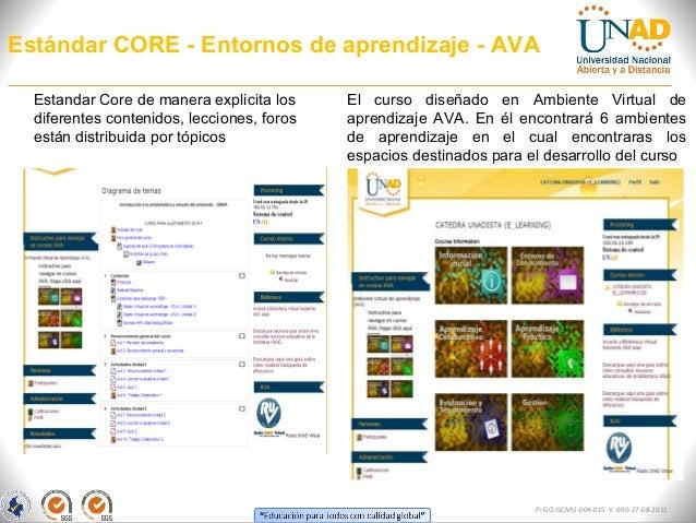 Estándar CORE - Entornos de aprendizaje - AVA FI-GQ-GCMU-004-015 V. 000-27-08-2011 El curso diseñado en Ambiente Virtual d...