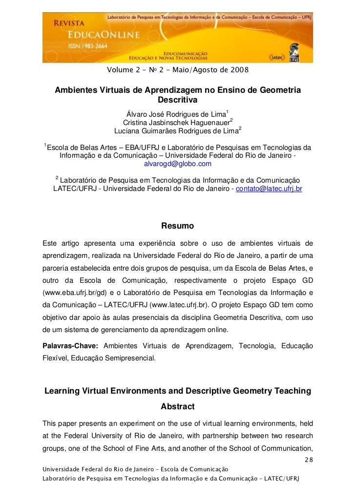 Ambientes Virtuais de Aprendizagem no Ensino de Geometria Descritiva