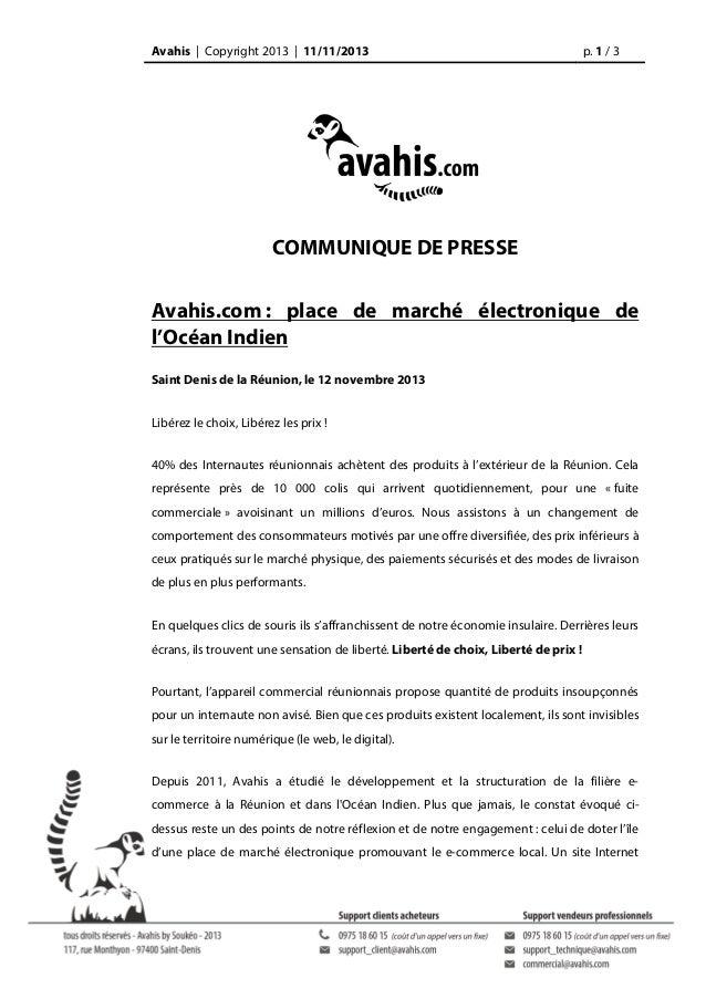 Avahis | Copyright 2013 | 11/11/2013  p. 1 / 3  COMMUNIQUE DE PRESSE Avahis.com : place de marché électronique de l'Océan ...