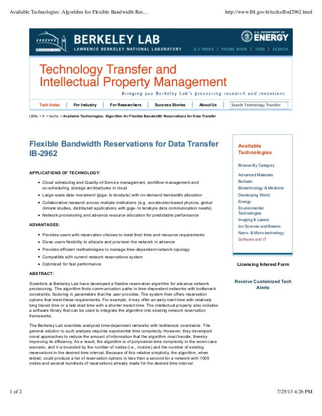 Available technologies: algorithm for flexible bandwidth reservations for data transfer