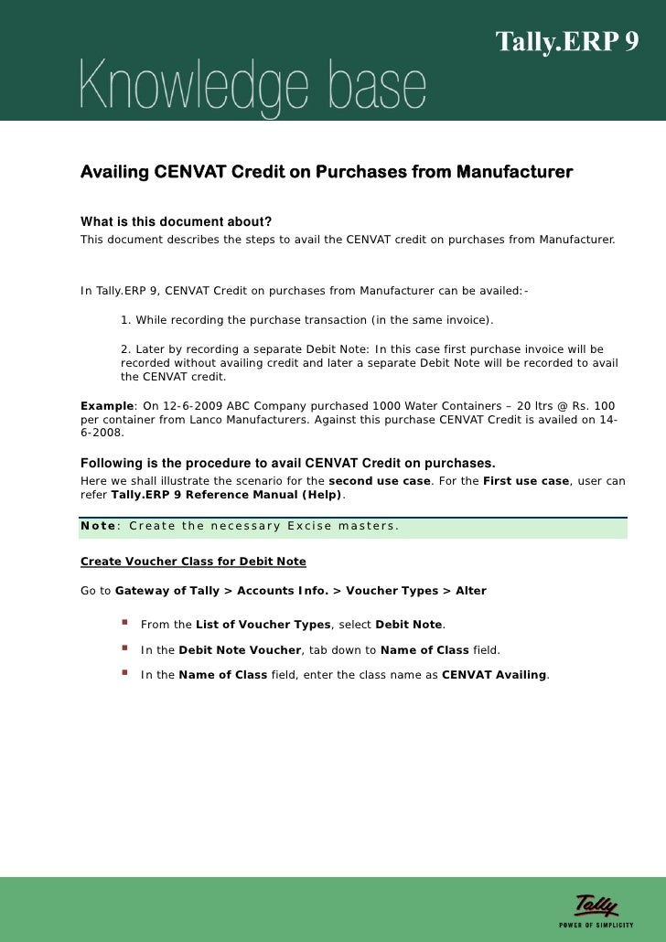 Availing CENVAT Credit on Purchases from ManufacturerWhat is this document about?This document describes the steps to avai...