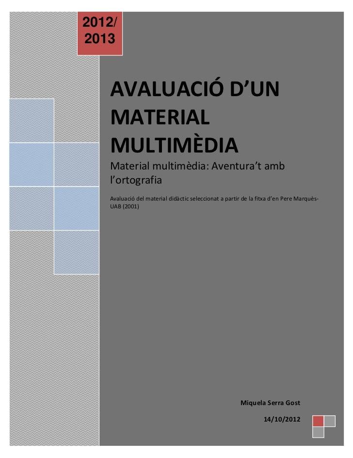 Avaluació material multimèdia
