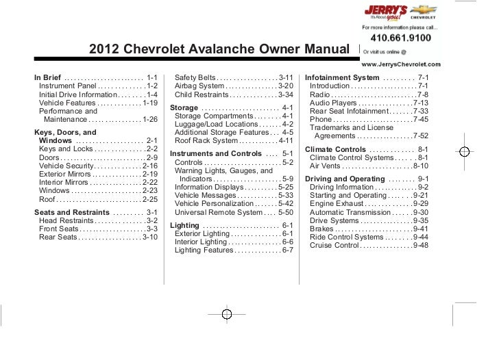 Chevrolet Avalanche Owner Manual - 2012 - crc 2nd edition - 11/7/11                                                       ...
