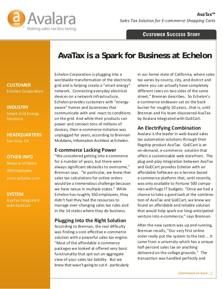AvaTax™                                                                SalesTaxSolutionforE‐commerceShoppingCarts ...