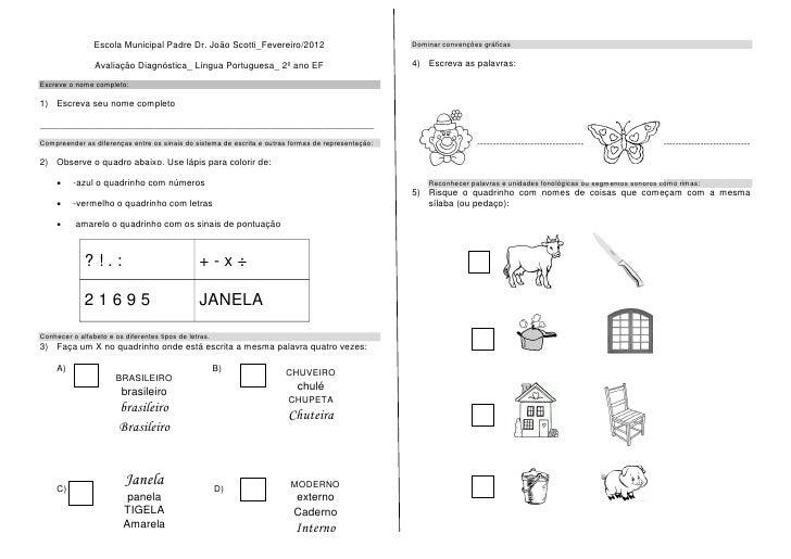 Avaliação Diagnóstica_Fev/2012 - 2º ano EF
