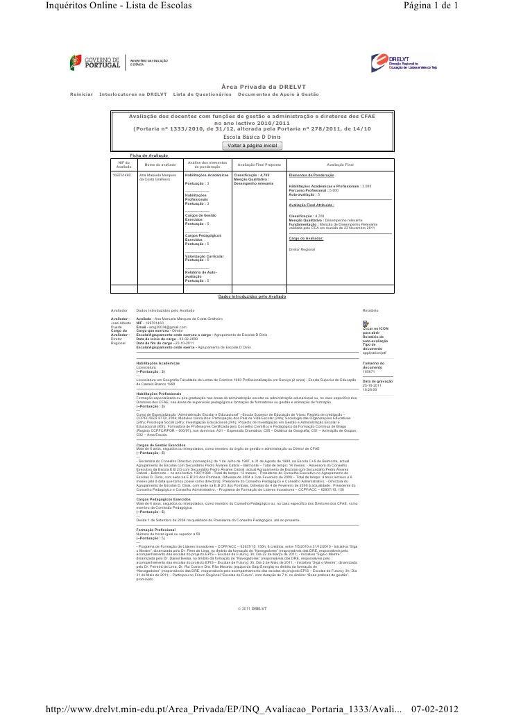 Inquéritos Online - Lista de Escolas                                                                                      ...
