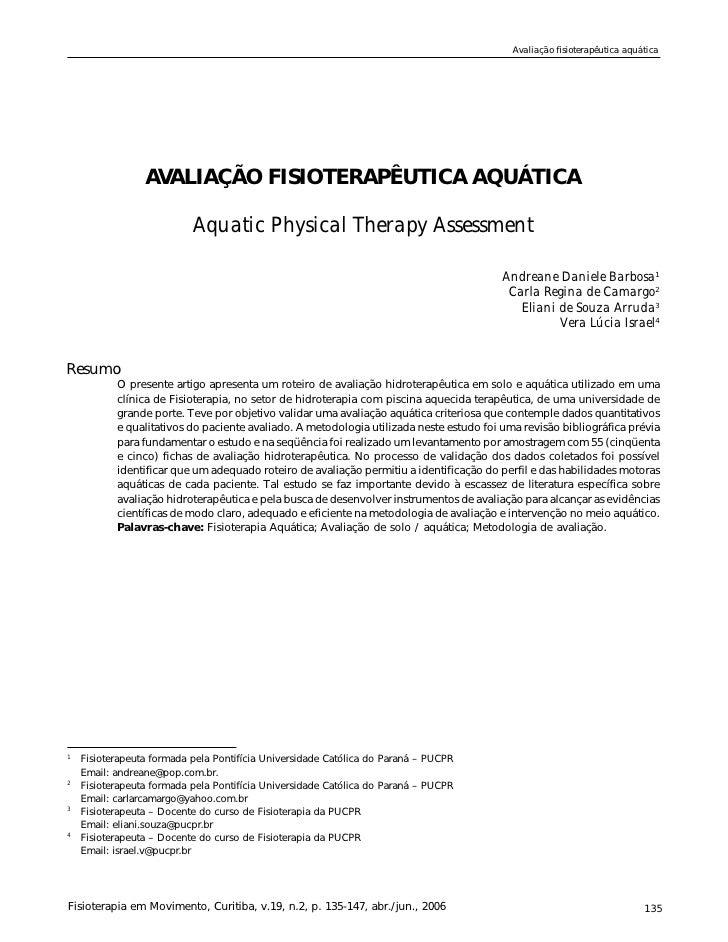 Avaliação fisioterapêutica aquática                      AVALIAÇÃO FISIOTERAPÊUTICA AQUÁTICA                             A...