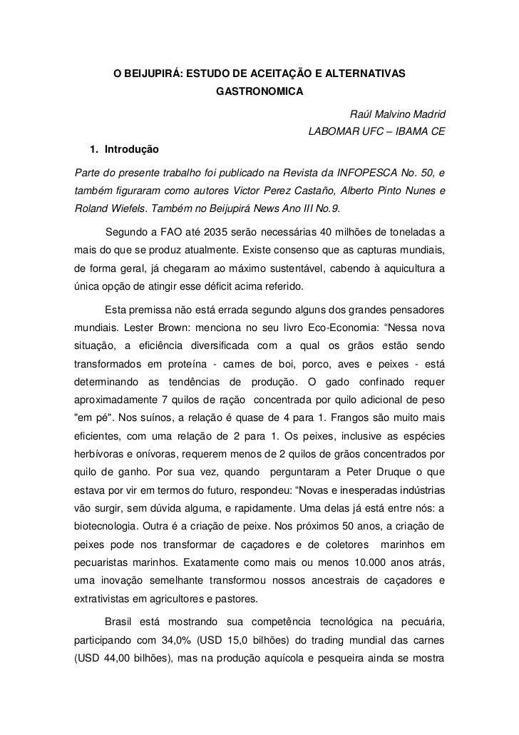 O BEIJUPIRÁ: ESTUDO DE ACEITAÇÃO E ALTERNATIVAS                               GASTRONOMICA                                ...