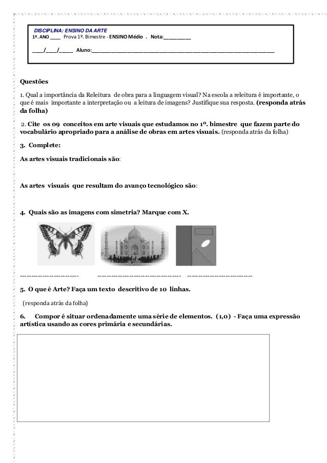 Questões  1. Qual a importância da Releitura de obra para a linguagem visual? Na escola a releitura é importante, o que é ...