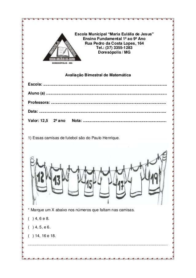 Avaliação bimestral de matemática 2º ano