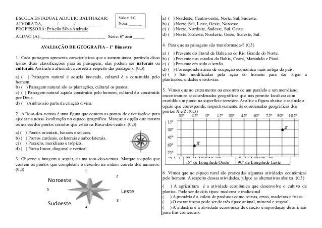 ESCOLA ESTADUAL ADJÚLIO BALTHAZAR.ALVORADA, ______/_______/___________.PROFESSORA: Priscila Silva AndradeALUNO (A): ______...