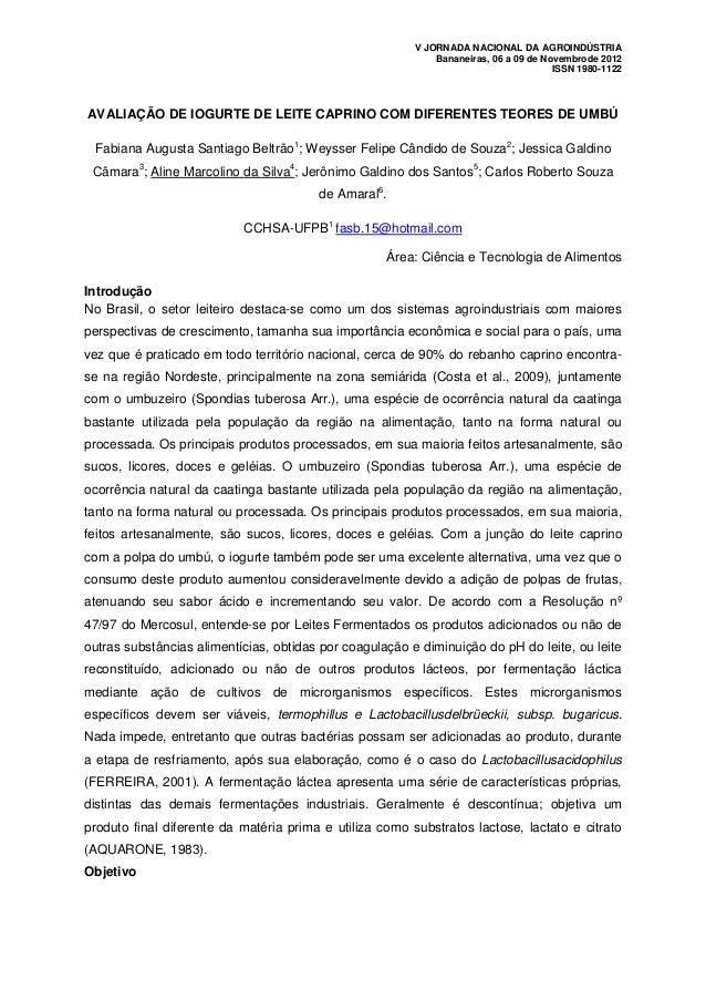 V JORNADA NACIONAL DA AGROINDÚSTRIA                                                             Bananeiras, 06 a 09 de Nov...