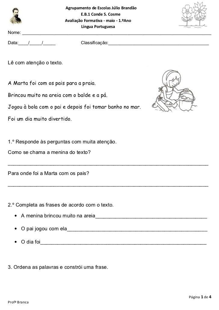 Agrupamento de Escolas Júlio Brandão                                E.B.1 Conde S. Cosme                        Avaliação ...