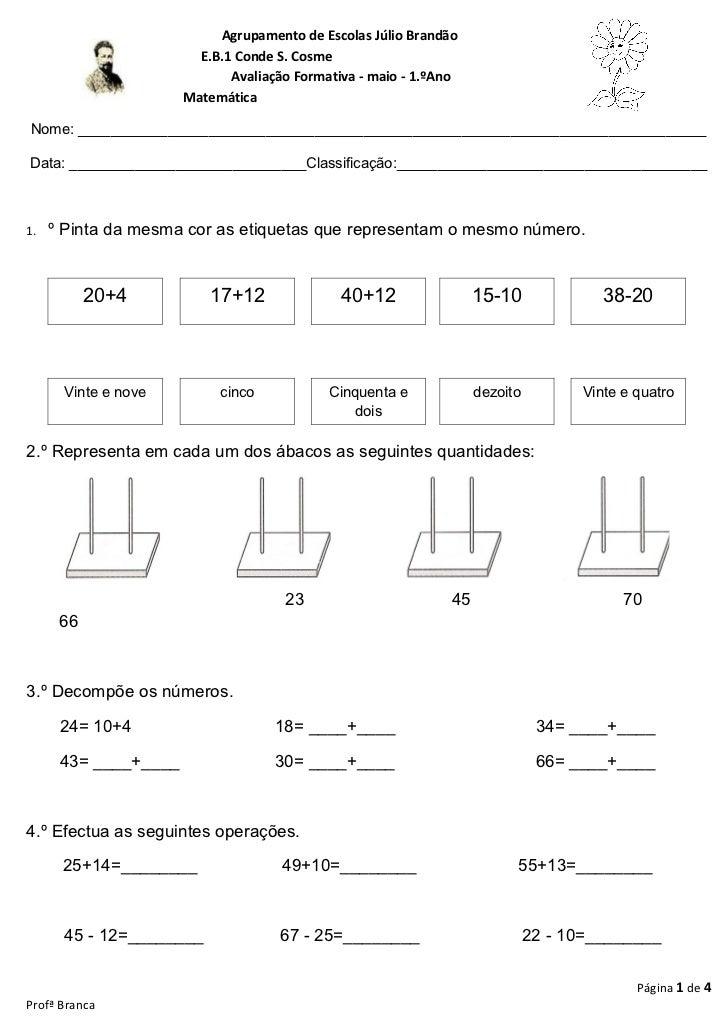 Avaliação de maio  matemática- 1 º ano