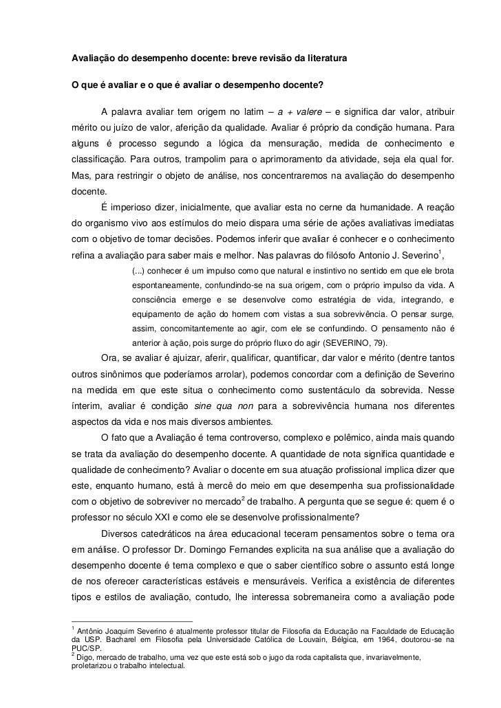 Avaliação do desempenho docente: breve revisão da literaturaO que é avaliar e o que é avaliar o desempenho docente?       ...