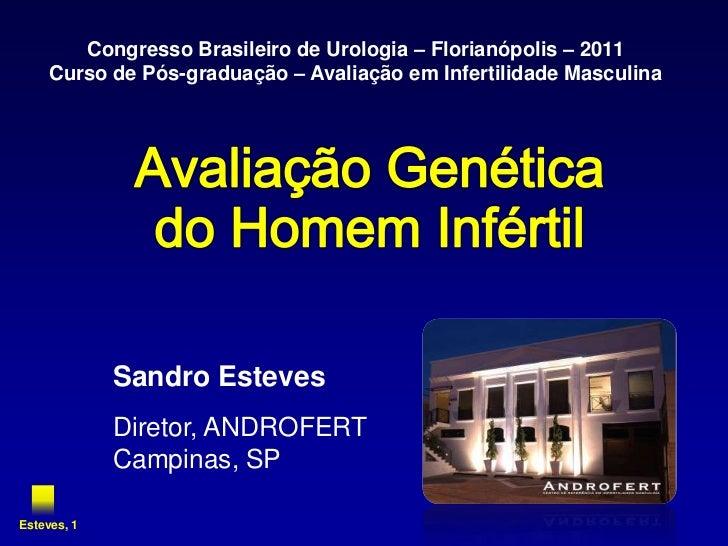 Congresso Brasileiro de Urologia – Florianópolis – 2011     Curso de Pós-graduação – Avaliação em Infertilidade Masculina ...