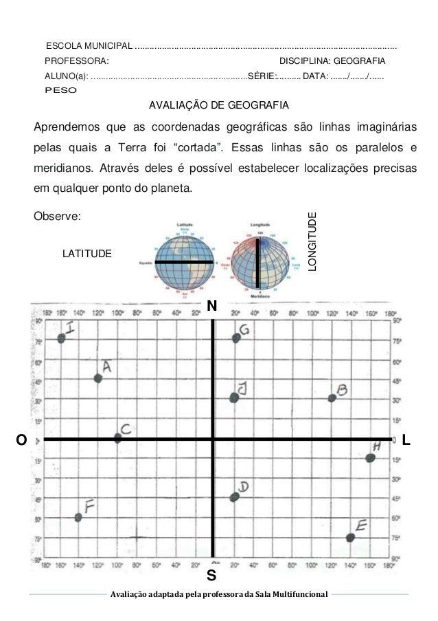 Avaliação adaptada pela professora da Sala Multifuncional AVALIAÇÃO DE GEOGRAFIA Aprendemos que as coordenadas geográficas...