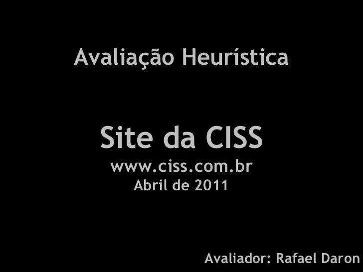 Avaliação Heurística Site CISS em Abril 2001