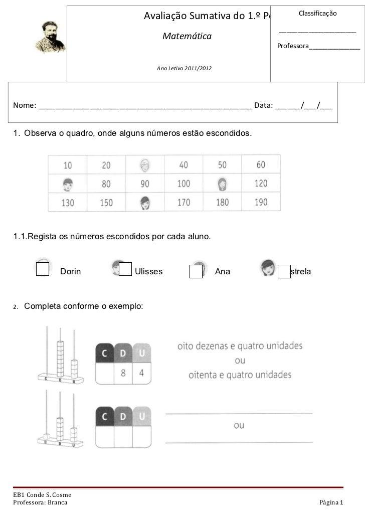 Avaliação sumativa de matemática 1.º período (1)