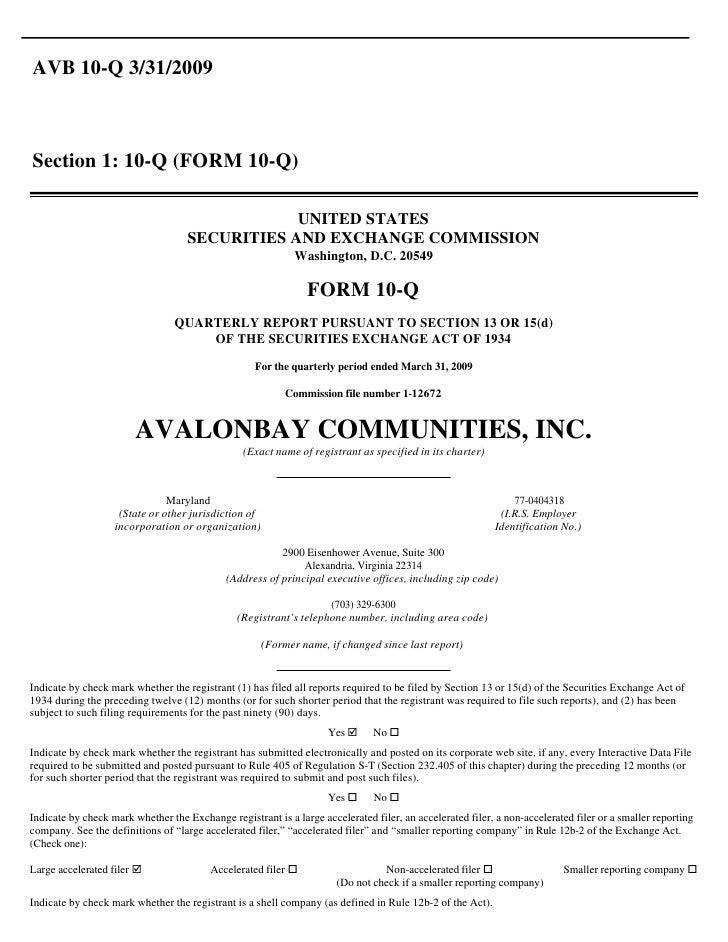 AVB 10-Q 3/31/2009    Section 1: 10-Q (FORM 10-Q)                                                  UNITED STATES          ...