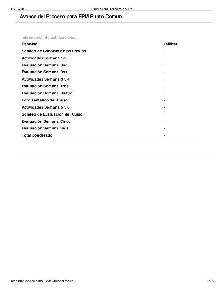 18/05/2011                               Blackboard Academic Suite     Avance del Proceso para EPM Punto Comun      Inform...