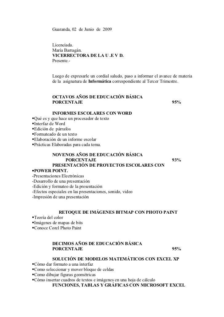 Guaranda, 02 de Junio de 2009        Licenciada.        María Barragán.        VICERRECTORA DE LA U .E V D.        Present...
