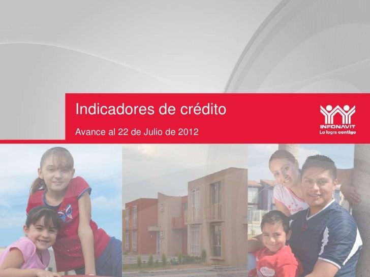 Indicadores de créditoAvance al 22 de Julio de 2012
