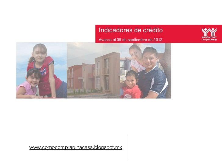 Indicadores de crédito                       Indicadores de crédito      Avance al 09 de septiembre de 2012               ...