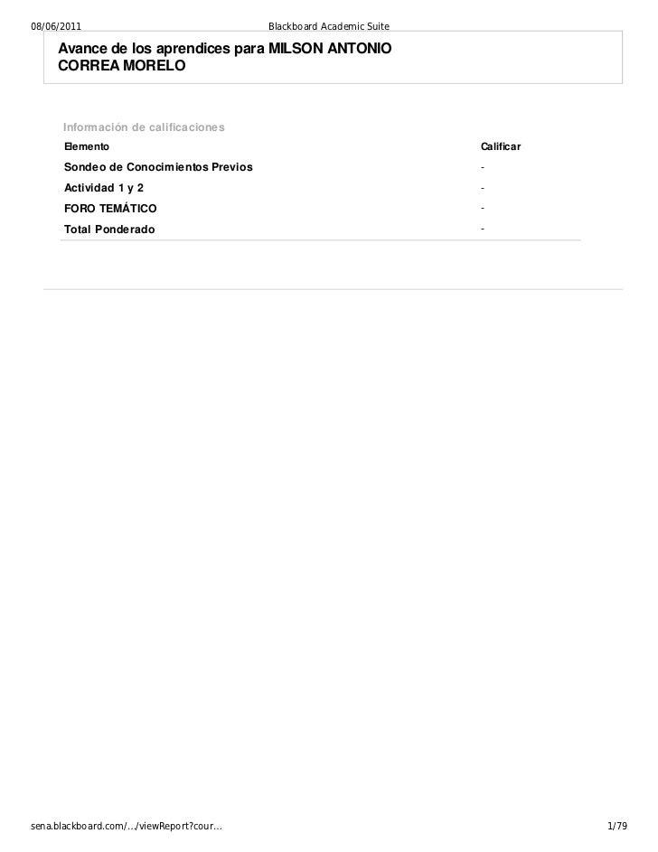 08/06/2011                               Blackboard Academic Suite     Avance de los aprendices para MILSON ANTONIO     CO...