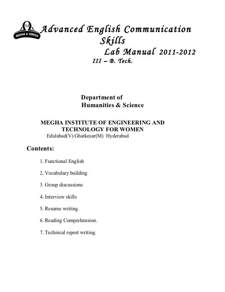 Advanced English Communication               Skills                                   Lab Manual 2011-2012                ...