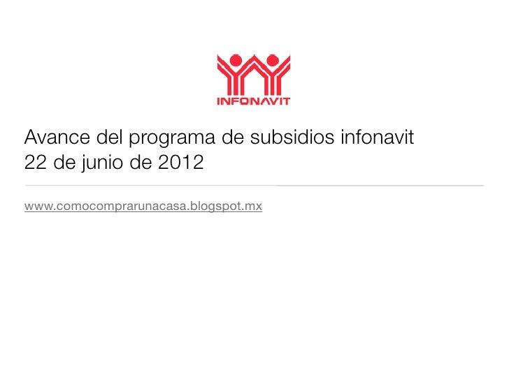 Avance del programa de subsidios infonavit22 de junio de 2012www.comocomprarunacasa.blogspot.mx