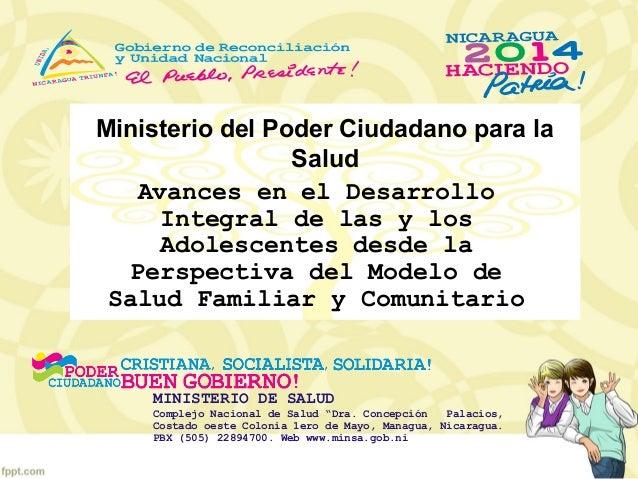 Avances en el Desarrollo Integral de las y los Adolescentes desde la Perspectiva de Servicios de Salud. Dra. Emig Bravo, Ministerio de Salud/Nicaragua.
