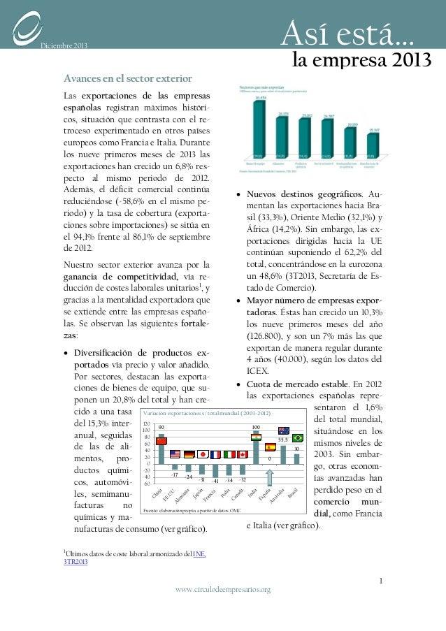 Así está…  Diciembre 2013  Avances en el sector exterior  la empresa 2013  Las exportaciones de las empresas españolas reg...