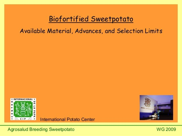 Agrosalud Breeding Sweetpotato WG 2009 Biofortified Sweetpotato Available Material, Advances, and Selection Limits Interna...