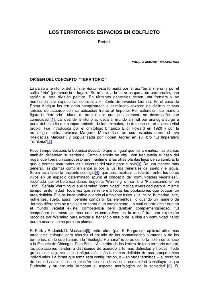 LOS TERRITORIOS: ESPACIOS EN COLFLICTO                                           Parte 1                                  ...