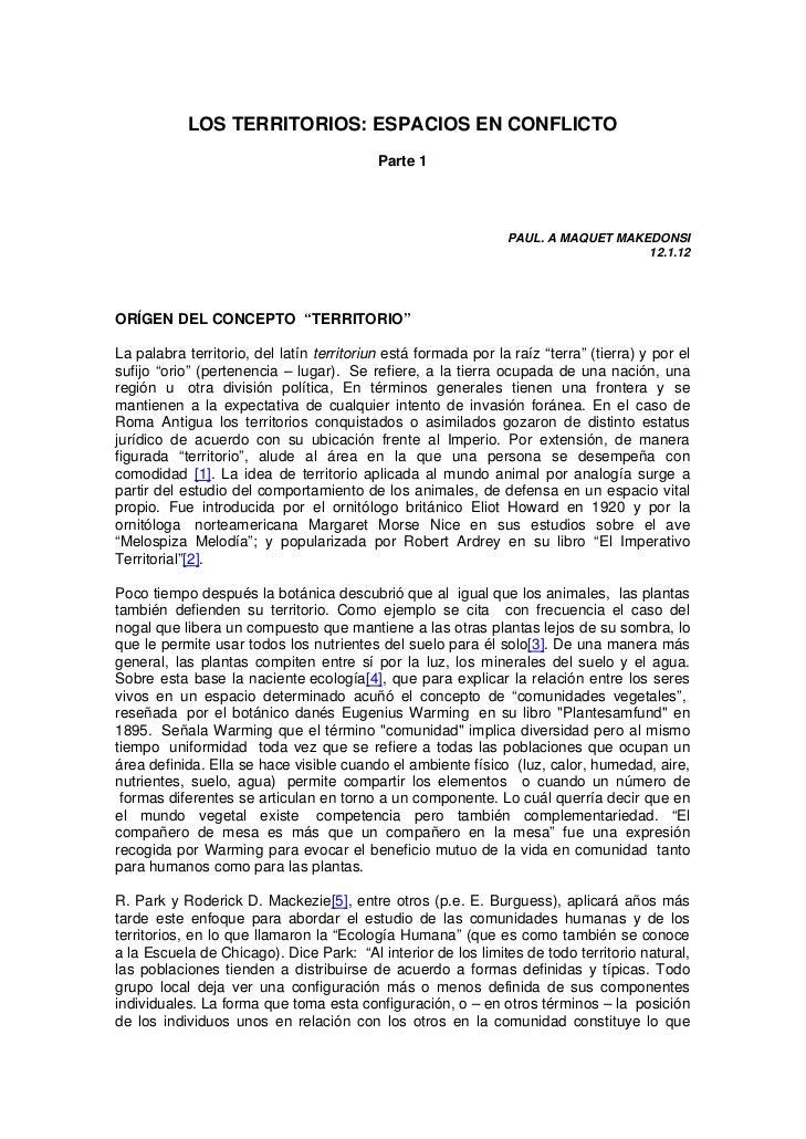 LOS TERRITORIOS: ESPACIOS EN CONFLICTO                                           Parte 1                                  ...