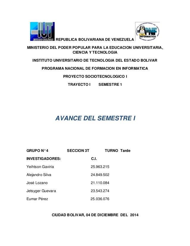 REPUBLICA BOLIVARIANA DE VENEZUELA MINISTERIO DEL PODER POPULAR PARA LA EDUCACION UNIVERSITARIA, CIENCIA Y TECNOLOGIA INST...