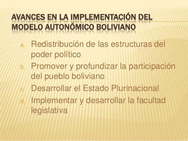Avances en la implementación del modelo autonómico boliviano