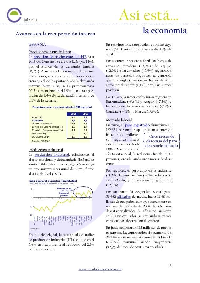 Avances en la recuperación interna (Así está la economía julio 2014) Círculo de Empresarios