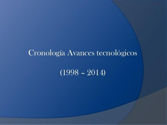 Cronología Avances tecnológicos        (1998 – 2014)