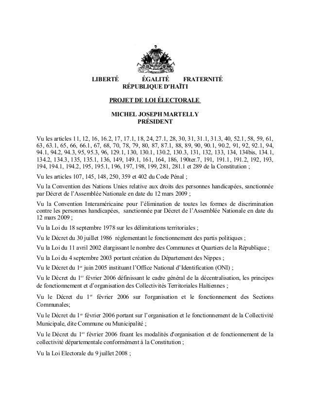 Copie de l'Avant Projet de Loi Electorale Déposée par l'Exécutif Haïtien au Parlement