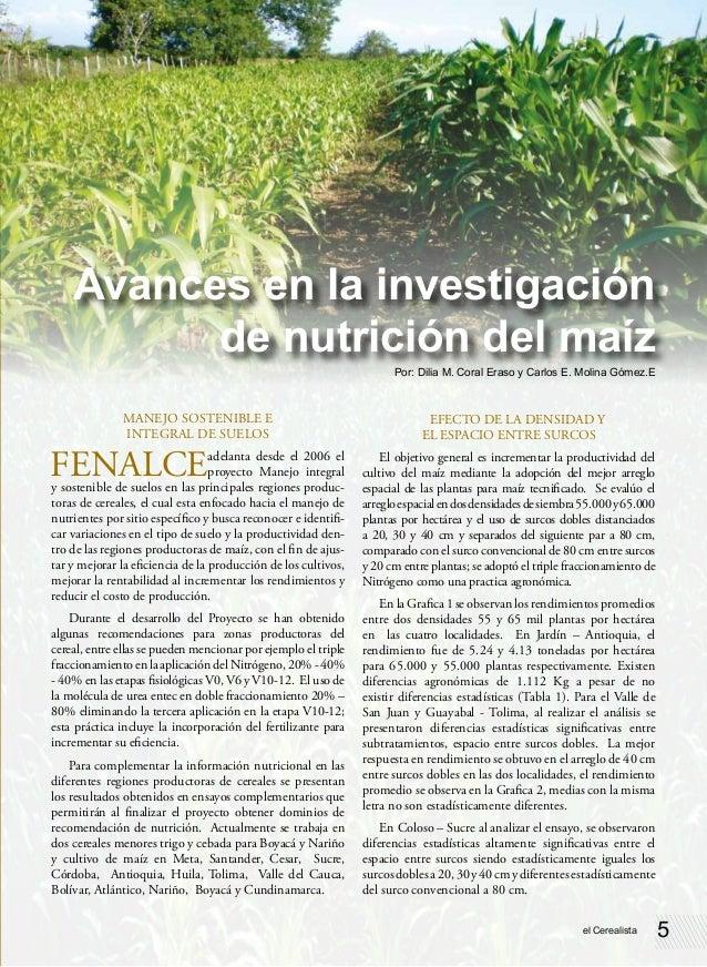 Avances en la investigación          de nutrición del maíz                                                                ...