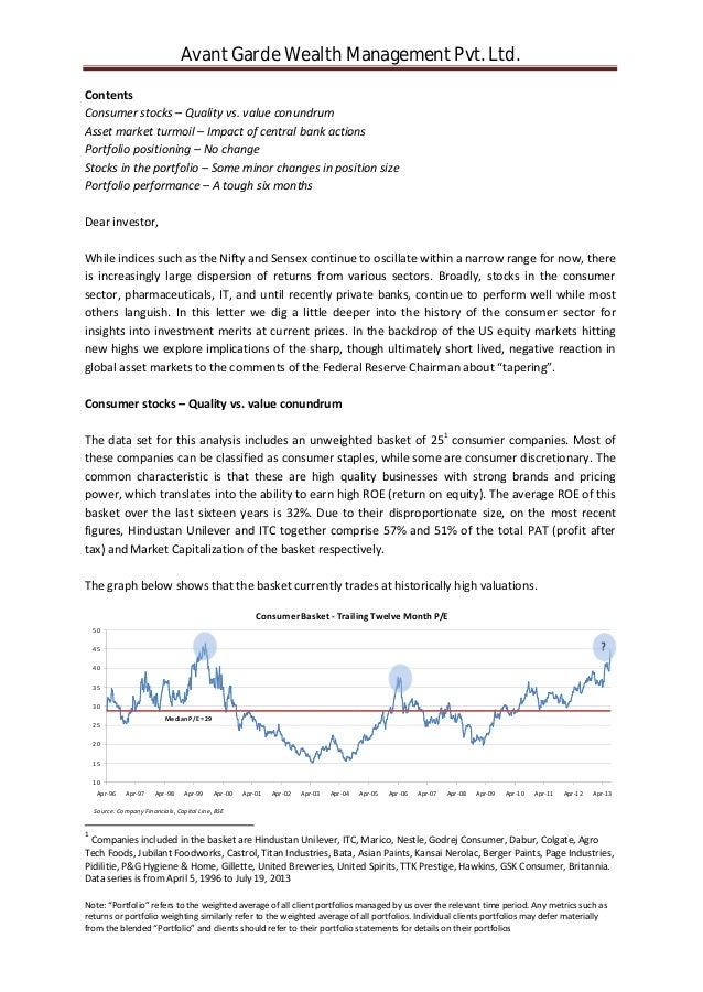 Avant garde wealth mgmt - Quarterly letter - 1306