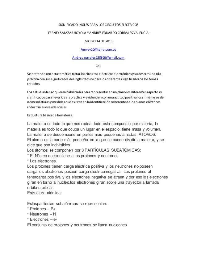 SIGNIFICADO INGLES PARA LOS CIRCUITOS ELECTRICOS FERNEY SALAZAR HOYOLA Y ANDRES EDUARDO CORRALES VALENCIA MARZO 14 DE 2015...