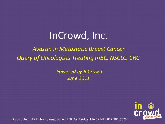 InCrowd, Inc. Avastin in Metastatic Breast Cancer Query of Oncologists Treating mBC, NSCLC, CRC Powered by InCrowd June 20...