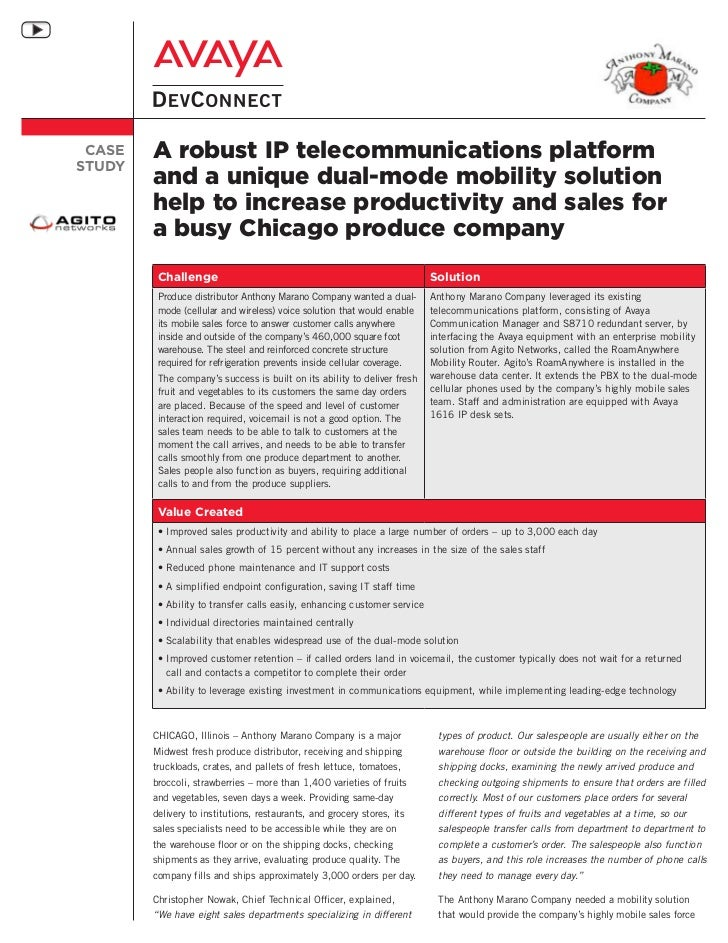 CASE   A robust IP telecommunications platformSTUDY        and a unique dual-mode mobility solution        help to increas...