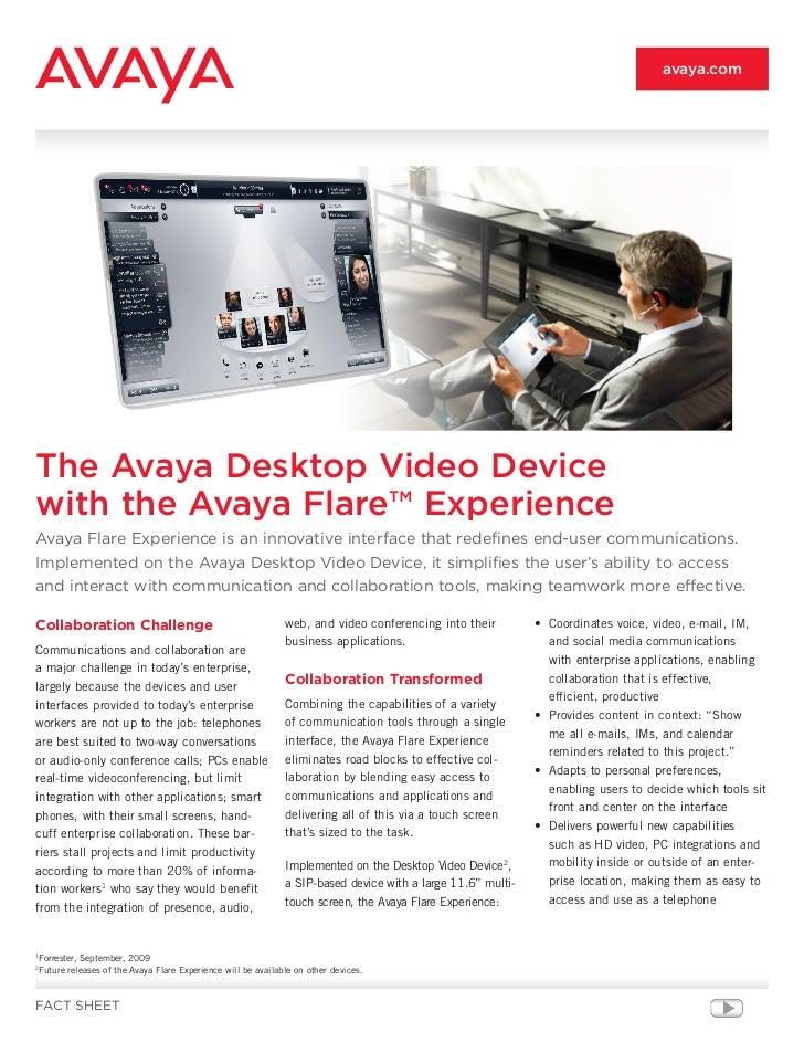 Avaya flare experience desktop device